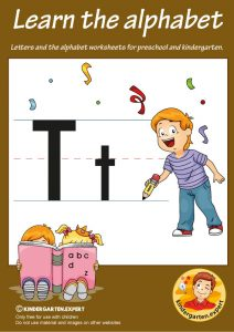Letters & alphabet worksheets for preschool and kindergarten, letter T, kindergarten expert, free printable
