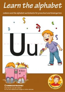 Letters & alphabet worksheets for preschool and kindergarten, letter U, kindergarten expert, free printable