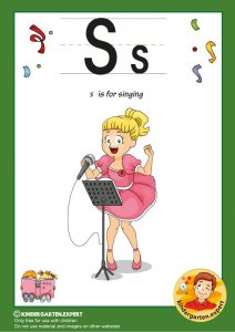 S is for singing, kindergarten expert, free printable