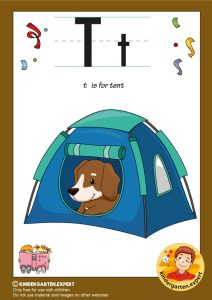 T is for tent, kindergarten expert, free printable