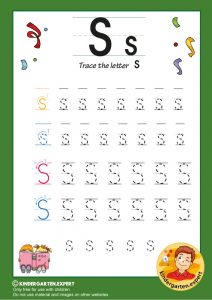 Trace the letter S for kindergarten, kindergarten expert, free printable