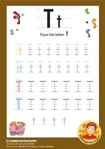 Trace the letter T for kindergarten, kindergarten expert, free printable