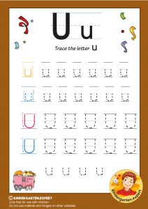 Trace the letter U for kindergarten, kindergarten expert, free printable