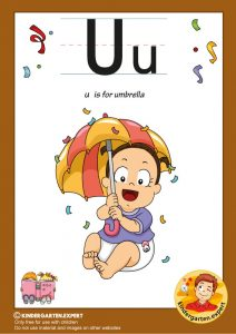U is for umbrella, kindergarten expert, free printable