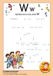 Alphabet dot to dot letter W, kindergarten expert, free printable