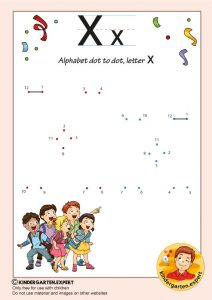 Alphabet dot to dot letter X, kindergarten expert, free printable