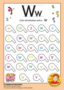 Color all the whistles with a W, kindergarten expert, free printable