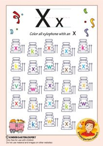 Color all the xylophone with an X, kindergarten expert, free printable