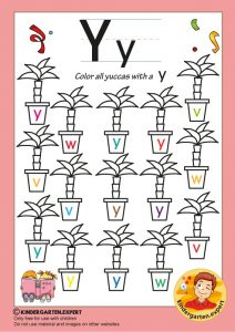 Color all the yuccas with a Y, kindergarten expert, free printable