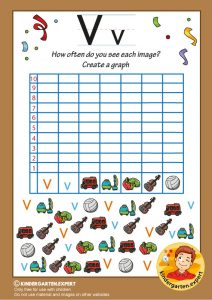 Create a graph, letter V for kids, kindergarten expert, free printable