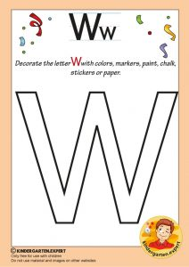 Decorate the capital letter W with colors, markers, paint, chalk,, kindergarten expert, free printable
