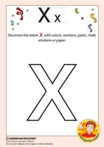 Decorate the letter x with colors, markers, paint, chalk,, kindergarten expert, free printable