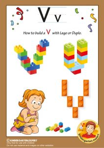How to build a V with Lego or Duplo, kindergarten expert, free printable