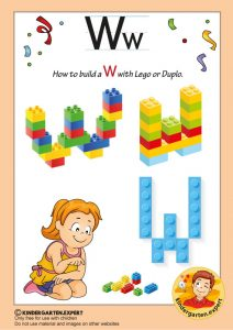 How to build a W with Lego or Duplo, kindergarten expert, free printable