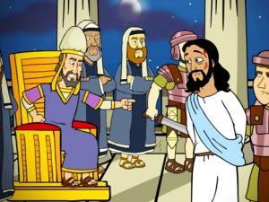 Jesus before Caiaphas, bible images for kids, kindergarten expert