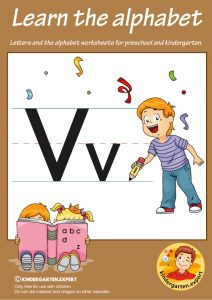 Letters & alphabet worksheets for preschool and kindergarten, letter V, kindergarten expert, free printable