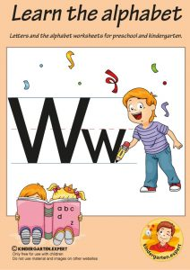 Letters & alphabet worksheets for preschool and kindergarten, letter W, kindergarten expert, free printable
