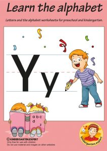 Letters & alphabet worksheets for preschool and kindergarten, letter Y, kindergarten expert, free printable