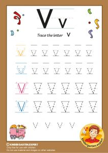 Trace the letter V for kindergarten, kindergarten expert, free printable