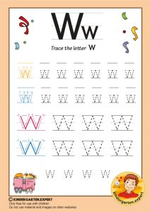 Trace the letter W for kindergarten, kindergarten expert, free printable