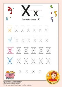 Trace the letter X for kindergarten, kindergarten expert, free printable