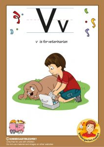 V is for veterinarian, kindergarten expert, free printable
