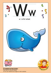 W is for whale, kindergarten expert, free printable