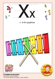 X is for xylophone, kindergarten expert, free printable