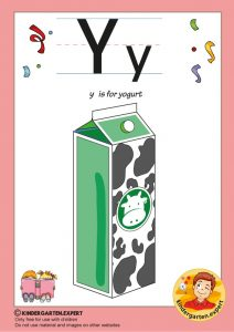 Y is for yogurt, kindergarten expert, free printable