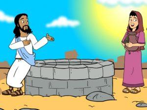 The Samaritan woman at the well, bible images for kids, kindergarten expert