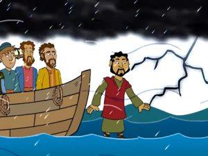 Jesus walks on the water, bible images for kids, kindergarten expert