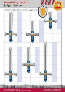 Measuring swords, knights and noblewomen theme, kindergarten expert, free printable