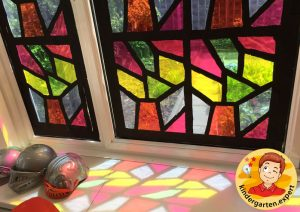 Stained glass windows of the castle 2, knights and noblewomen theme, kindergarten expert