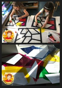 Stained glass windows of the castle, knights and noblewomen theme, kindergarten expert
