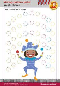 Writing pattern jester, knights and noblewomen theme, kindergarten expert, free printable