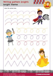 Writing pattern knights, knights and noblewomen theme, kindergarten expert, free printable