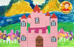 Castle cut and paste 1, knights and noblewomen theme, kindergarten expert, free printable