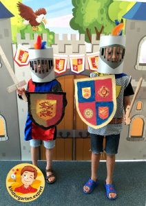Helmet for a knight 1, knights and noblewomen theme, kindergarten expert