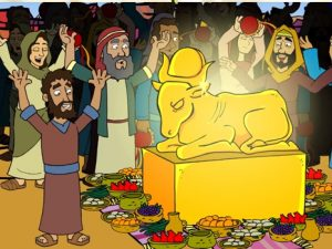 The golden calf, bible images for kids, kindergarten expert