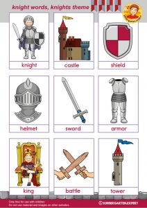 Knight words with pictures 1, knights and noblewomen theme, kindergarten expert, free printable
