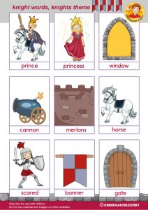Knight words with pictures 2, knights and noblewomen theme, kindergarten expert, free printable