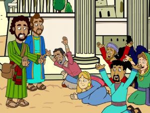Paul and Barnabas in Lystra, bible images for kids, kindergarten expert