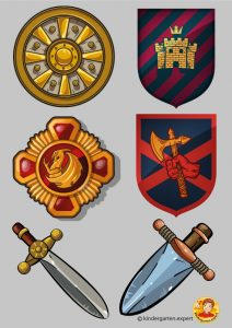 Shield symbols 1, knights and noblewomen theme, kindergarten expert, free printable