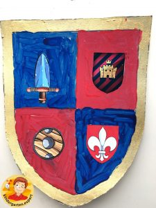 Shields for knights 3, knights and noblewomen theme, kindergarten expert