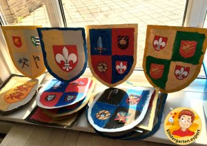 Shields for knights 5, knights and noblewomen theme, kindergarten expert