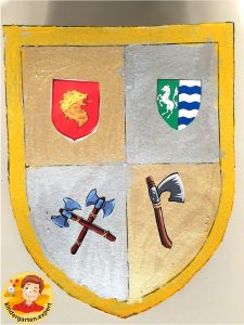 Shields for knights 6, knights and noblewomen theme, kindergarten expert