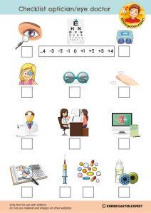 Checklist optician or eye doctor, eye theme, kindergarten expert