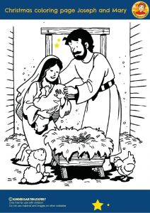 Christmas coloring page Joseph and Mary 2, Christmas theme, kindergarten expert, free printable