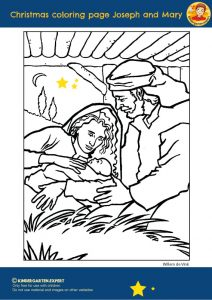 Christmas coloring page Joseph and Mary, Christmas theme, kindergarten expert, free printable