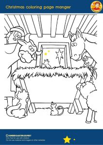 Christmas coloring page manger, Christmas theme, kindergarten expert, free printable